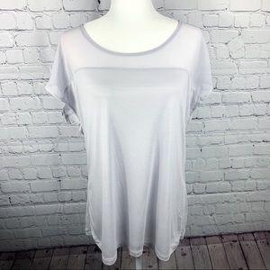 Gap Light Gray Short Sleeve Rayon Blouse - XL